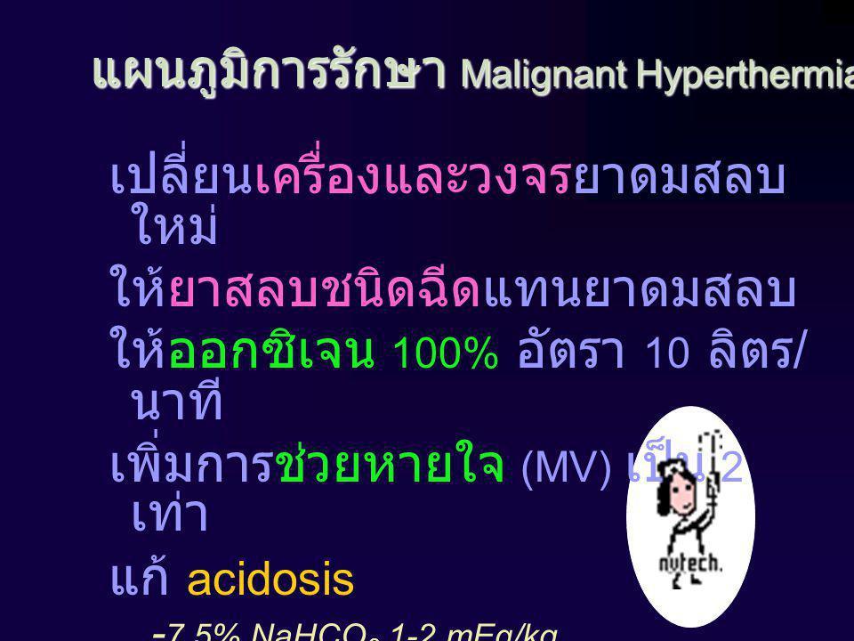 แผนภูมิการรักษา Malignant Hyperthermia เปลี่ยนเครื่องและวงจรยาดมสลบ ใหม่ ให้ยาสลบชนิดฉีดแทนยาดมสลบ ให้ออกซิเจน 100% อัตรา 10 ลิตร / นาที เพิ่มการช่วยหายใจ (MV) เป็น 2 เท่า แก้ acidosis - 7.5% NaHCO 3 1-2 mEq/kg