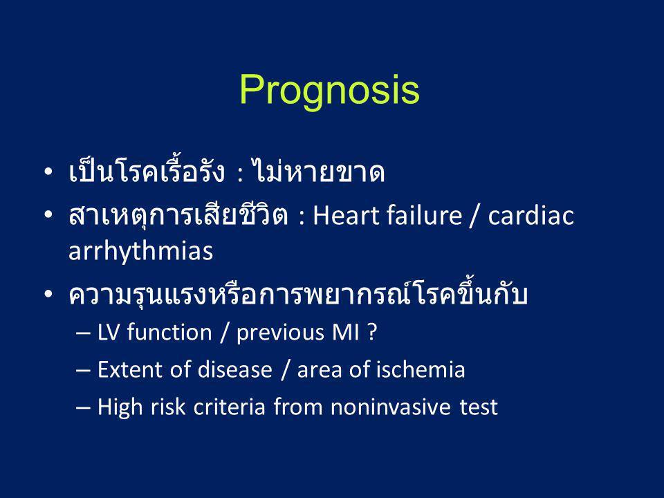 Prognosis • เป็นโรคเรื้อรัง : ไม่หายขาด • สาเหตุการเสียชีวิต : Heart failure / cardiac arrhythmias • ความรุนแรงหรือการพยากรณ์โรคขึ้นกับ – LV function