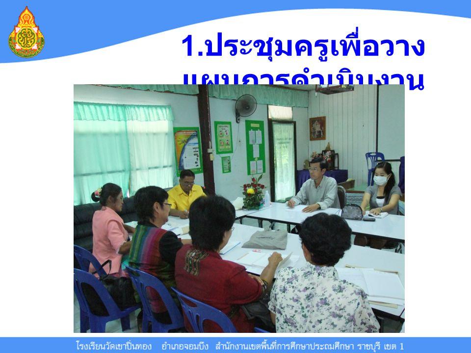 1. ประชุมครูเพื่อวาง แผนการดำเนินงาน