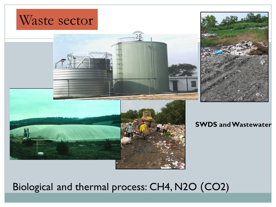 Waste sector Biological and thermal process: CH4, N2O (CO2) SWDS and Wastewater 28