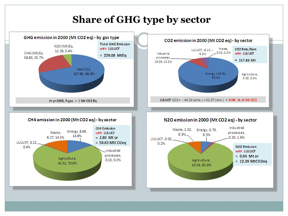 Share of GHG type by sector