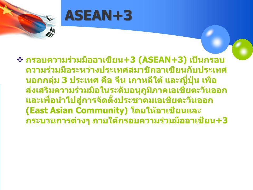 ASEAN+3  กรอบความร่วมมืออาเซียน+3 (ASEAN+3) เป็นกรอบ ความร่วมมือระหว่างประเทศสมาชิกอาเซียนกับประเทศ นอกกลุ่ม 3 ประเทศ คือ จีน เกาหลีใต้ และญี่ปุ่น เพ