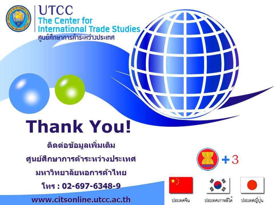 YOUR SITE HERE Thank You! ติดต่อข้อมูลเพิ่มเติมศูนย์ศึกษาการค้าระหว่างประเทศมหาวิทยาลัยหอการค้าไทย โทร : 02-697-6348-9 www.citsonline.utcc.ac.th