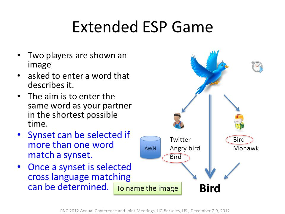 Extended ESP Game • Two players are shown an image • asked to enter a word that describes it. • The aim is to enter the same word as your partner in t