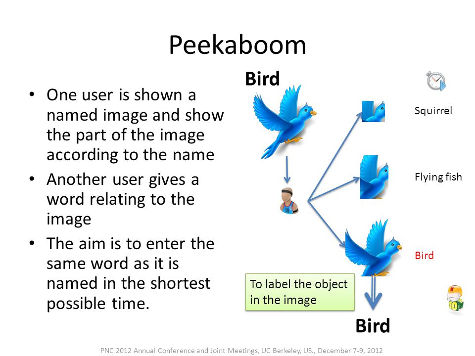 Peekaboom • One user is shown a named image and show the part of the image according to the name • Another user gives a word relating to the image • T