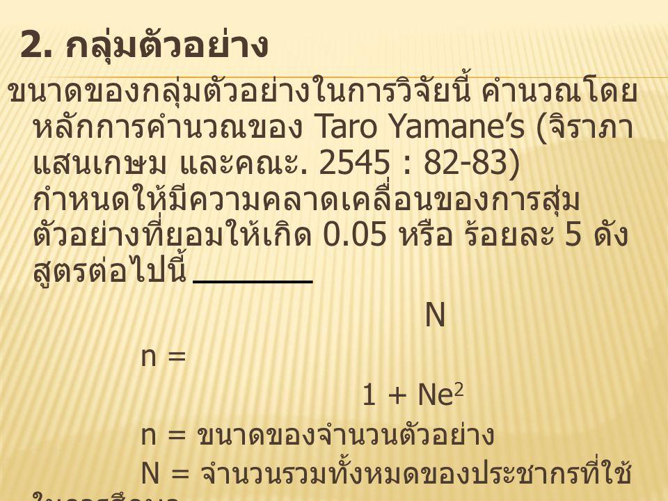 2. กลุ่มตัวอย่าง ขนาดของกลุ่มตัวอย่างในการวิจัยนี้ คำนวณโดย หลักการคำนวณของ Taro Yamane's ( จิราภา แสนเกษม และคณะ. 2545 : 82-83) กำหนดให้มีความคลาดเคล