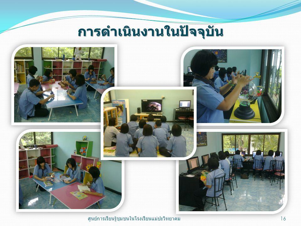 การดำเนินงานในปัจจุบัน 16 ศูนย์การเรียนรู้ชุมชนในโรงเรียนแม่ปะวิทยาคม