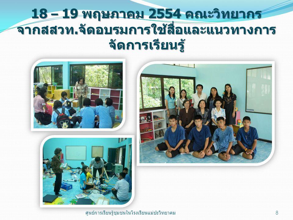 18 – 19 พฤษภาคม 2554 คณะวิทยากร จากสสวท. จัดอบรมการใช้สื่อและแนวทางการ จัดการเรียนรู้ 8 ศูนย์การเรียนรู้ชุมชนในโรงเรียนแม่ปะวิทยาคม