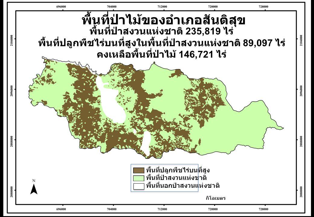 พื้นที่ป่าไม้ของอำเภอสันติสุข กิโลเมตร พื้นที่ป่าสงวนแห่งชาติ 235,819 ไร่ พื้นที่ปลูกพืชไร่บนที่สูงในพื้นที่ป่าสงวนแห่งชาติ 89,097 ไร่ คงเหลือพื้นที่ป