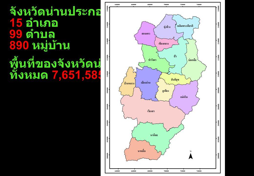 จังหวัดน่านประกอบด้วย 15 อำเภอ 99 ตำบล 890 หมู่บ้าน พื้นที่ของจังหวัดน่าน ทั้งหมด 7,651,585 ไร่
