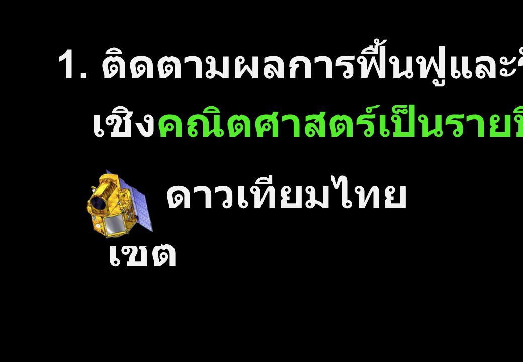 1. ติดตามผลการฟื้นฟูและรักษาป่า เชิงคณิตศาสตร์เป็นรายปี ด้วย ดาวเทียมไทย โชต