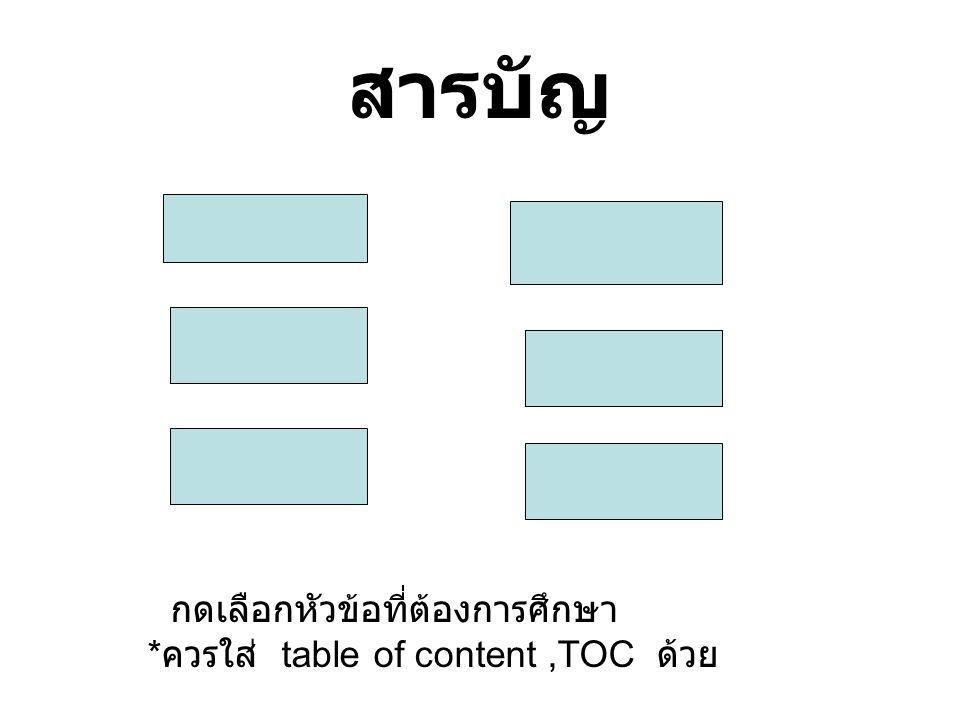 สารบัญ กดเลือกหัวข้อที่ต้องการศึกษา * ควรใส่ table of content,TOC ด้วย