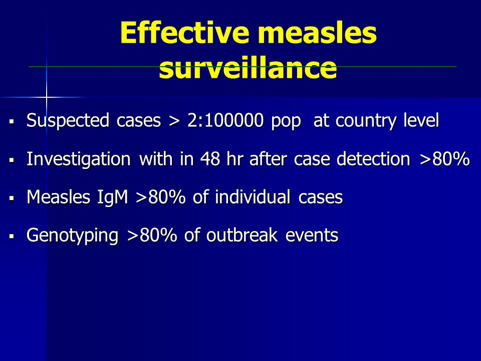Effective measles surveillance  Suspected cases > 2:100000 pop at country level  Investigation with in 48 hr after case detection >80%  Measles IgM >80% of individual cases  Genotyping >80% of outbreak events