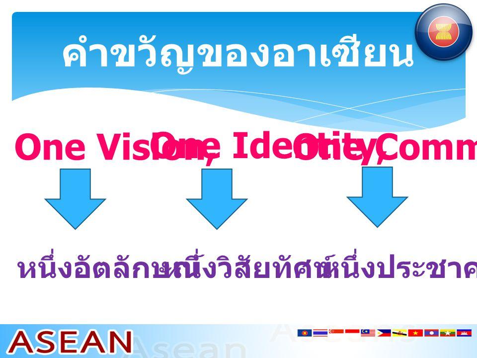 คำขวัญของอาเซียน One Vision, One Identity, One Community หนึ่งวิสัยทัศน์ หนึ่งอัตลักษณ์ หนึ่งประชาคม
