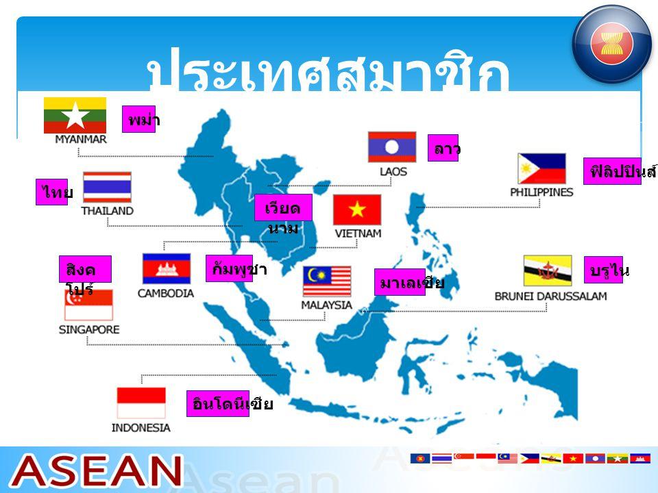 ประเทศสมาชิก บรูไน ลาว พม่า ไทย สิงค โปร์ อินโดนีเซีย ฟิลิปปินส์ เวียด นาม กัมพูชา มาเลเซีย