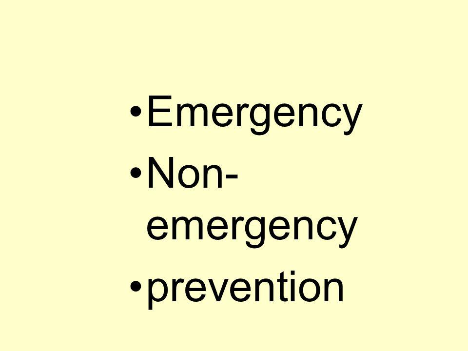 •Emergency •Non- emergency •prevention