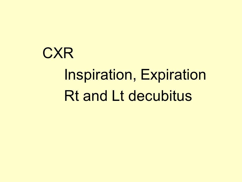 CXR Inspiration, Expiration Rt and Lt decubitus