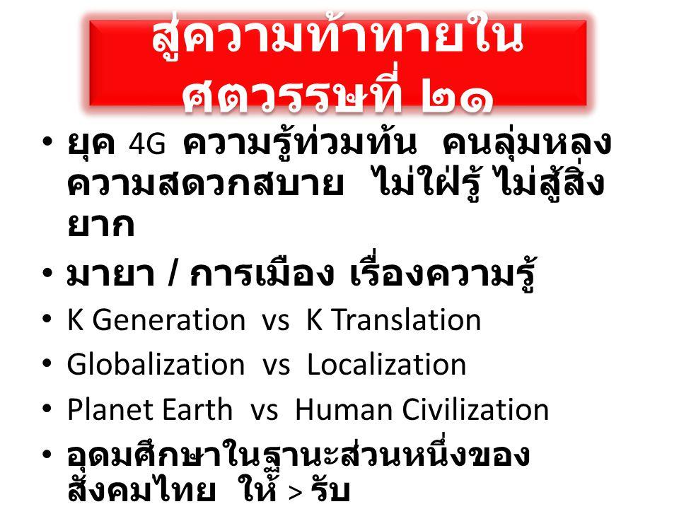 สู่ความท้าทายใน ศตวรรษที่ ๒๑ • ยุค 4G ความรู้ท่วมท้น คนลุ่มหลง ความสดวกสบาย ไม่ใฝ่รู้ ไม่สู้สิ่ง ยาก • มายา / การเมือง เรื่องความรู้ • K Generation vs