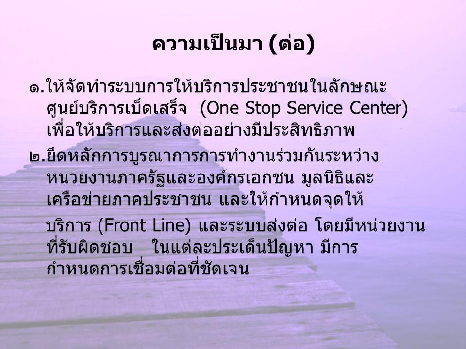 ความเป็นมา (ต่อ) ๑.ให้จัดทำระบบการให้บริการประชาชนในลักษณะ ศูนย์บริการเบ็ดเสร็จ (One Stop Service Center) เพื่อให้บริการและส่งต่ออย่างมีประสิทธิภาพ ๒.