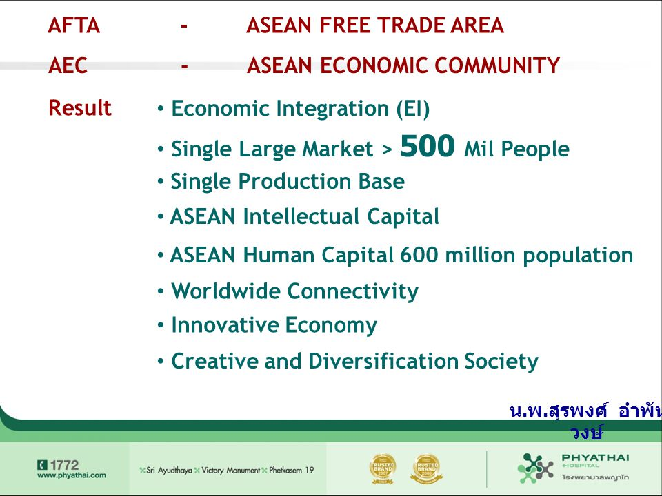AFTA-ASEAN FREE TRADE AREA AEC-ASEAN ECONOMIC COMMUNITY Result • Economic Integration (EI) • Single Large Market > 500 Mil People • Single Production