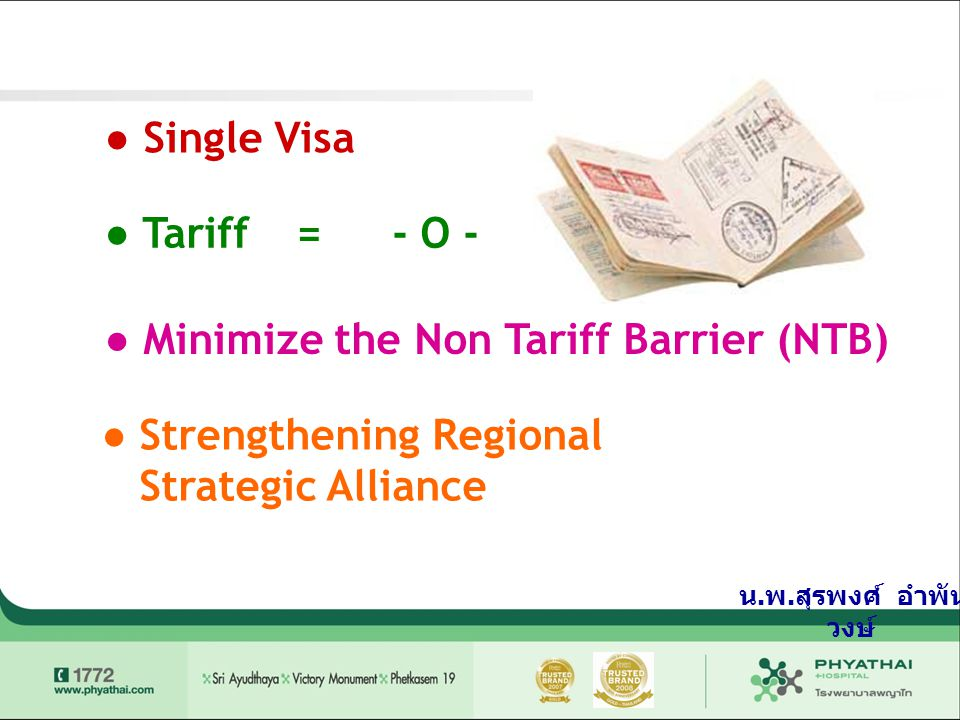 ● Single Visa ● Tariff=- O - ● Minimize the Non Tariff Barrier (NTB) ● Strengthening Regional Strategic Alliance น. พ. สุรพงศ์ อำพัน วงษ์