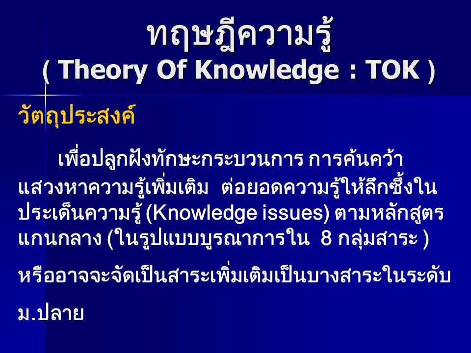 ทฤษฎีความรู้ ( Theory Of Knowledge : TOK ) วัตถุประสงค์ เพื่อปลูกฝังทักษะกระบวนการ การค้นคว้า แสวงหาความรู้เพิ่มเติม ต่อยอดความรู้ให้ลึกซึ้งใน ประเด็น