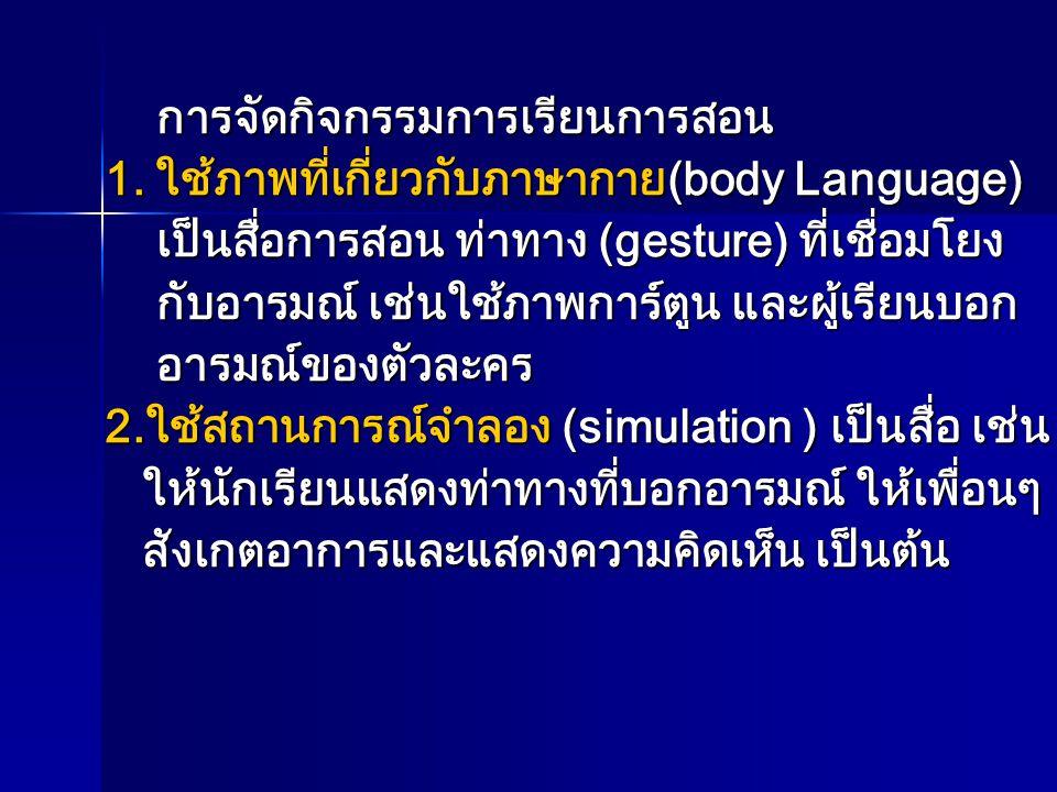 การจัดกิจกรรมการเรียนการสอน การจัดกิจกรรมการเรียนการสอน 1. ใช้ภาพที่เกี่ยวกับภาษากาย(body Language) 1. ใช้ภาพที่เกี่ยวกับภาษากาย(body Language) เป็นสื