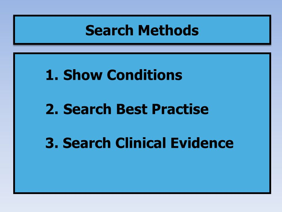 1. Show Conditions 2. Search Best Practise 3. Search Clinical Evidence Search Methods