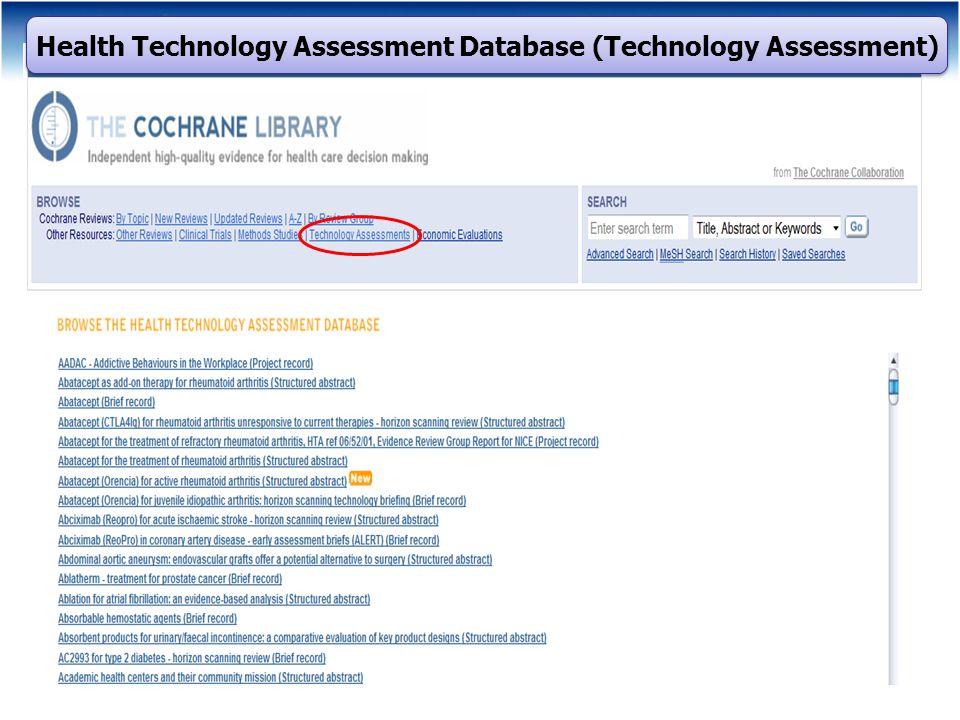 Health Technology Assessment Database (Technology Assessment)