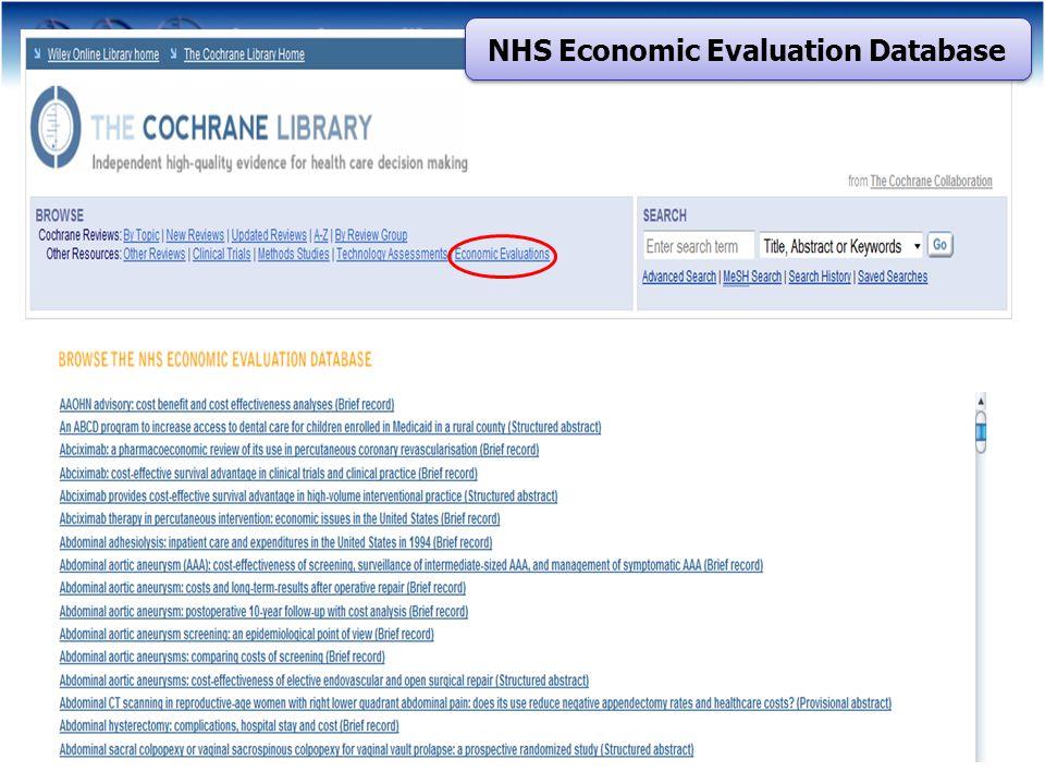 NHS Economic Evaluation Database