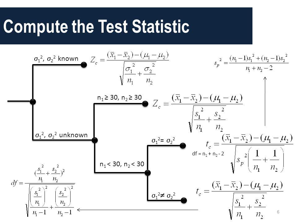 Compute the Test Statistic 6  1 2,  2 2 known  1 2,  2 2 unknown n 1 ≥ 30, n 2 ≥ 30 n 1 < 30, n 2 < 30 df = n 1 + n 2 - 2  1 2 =  2 2 12 221
