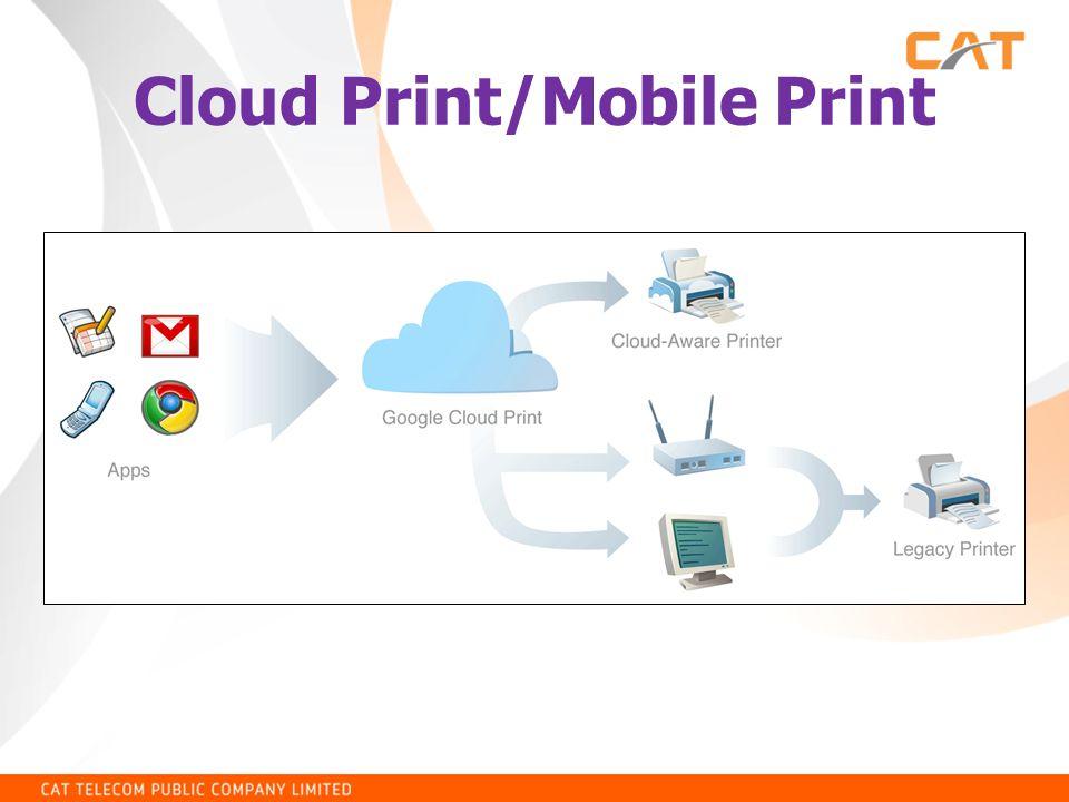 การเชื่อมต่อเครื่องพิมพ์บน Android กับ Google Cloud Print • ไปที่ Play Store ค้นหาคำว่า Google Cloud Print • เลือกติดตั้งโปรแกรมที่ชื่อว่า Cloud Print ของ Google • ในกรณีที่ยังไม่ได้ลงทะเบียน Printer ผ่านเว็บ ไว้สามารถเซ็ตค่าต่างๆ ได้ที่ Settings – More Network – Printing – เลือก Cloud Print – enable cloud print ให้เป็นสีเขียว