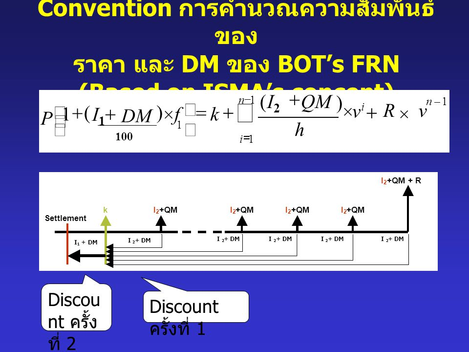 P = gross price (clean price บวกกับ accrued interest) I 1 = current interpolated rate for period from settlement date to the next coupon date (linear interpolation of current reference rates) I 2 = current reference rate for the FRN's payment tenor (e.g.