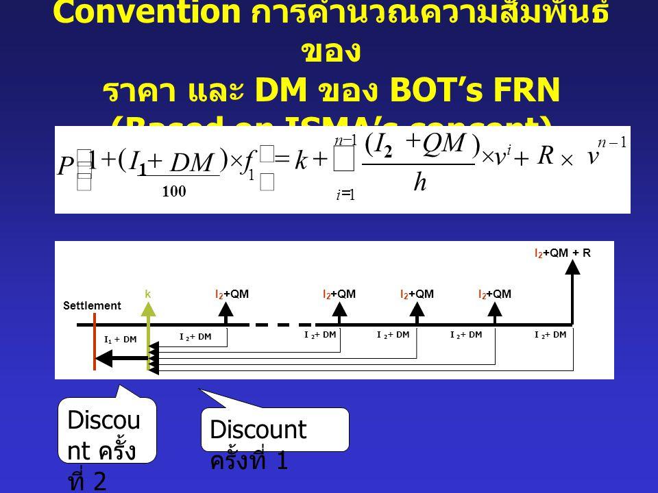 Convention การคำนวณความสัมพันธ์ ของ ราคา และ DM ของ BOT's FRN (Based on ISMA's concept) Discount ครั้งที่ 1 Discou nt ครั้ง ที่ 2 1 1 1 1 ) ( ) ( 1 