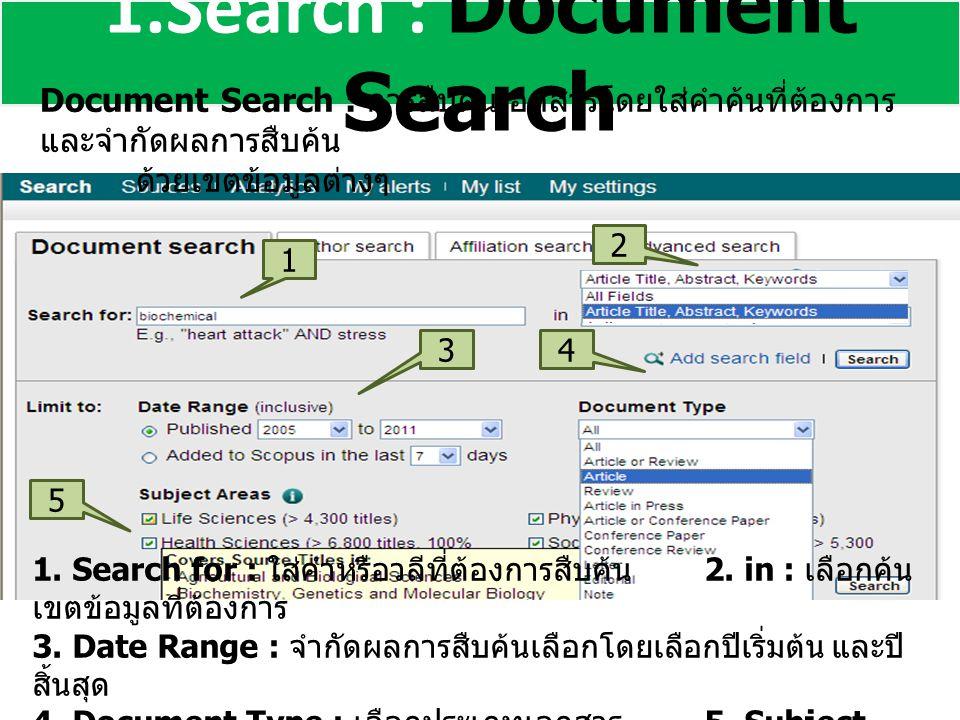 1.Search : Document Search Document Search : การสืบค้นเอกสารโดยใส่คำค้นที่ต้องการ และจำกัดผลการสืบค้น ด้วยเขตข้อมูลต่างๆ 1 2 3 5 4 1.