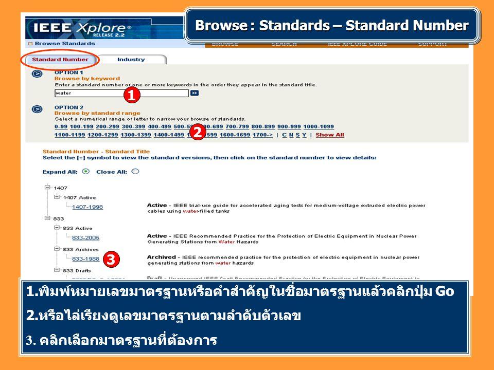 1 2 Browse : Standards – Standard Number 3 1.พิมพ์หมายเลขมาตรฐานหรือคำสำคัญในชื่อมาตรฐานแล้วคลิกปุ่ม Go 2. หรือไล่เรียงดูเลขมาตรฐานตามลำดับตัวเลข 3. ค