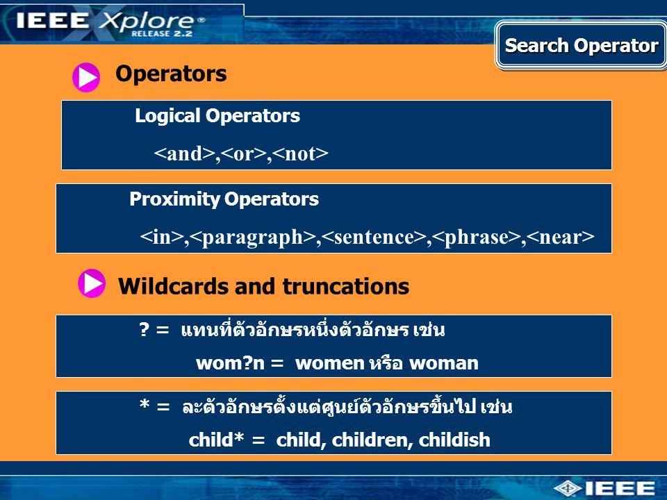 Operators Logical Operators,, Proximity Operators,,,, Wildcards and truncations ? = แทนที่ตัวอักษรหนึ่งตัวอักษร เช่น wom?n = women หรือ woman * = ละตั