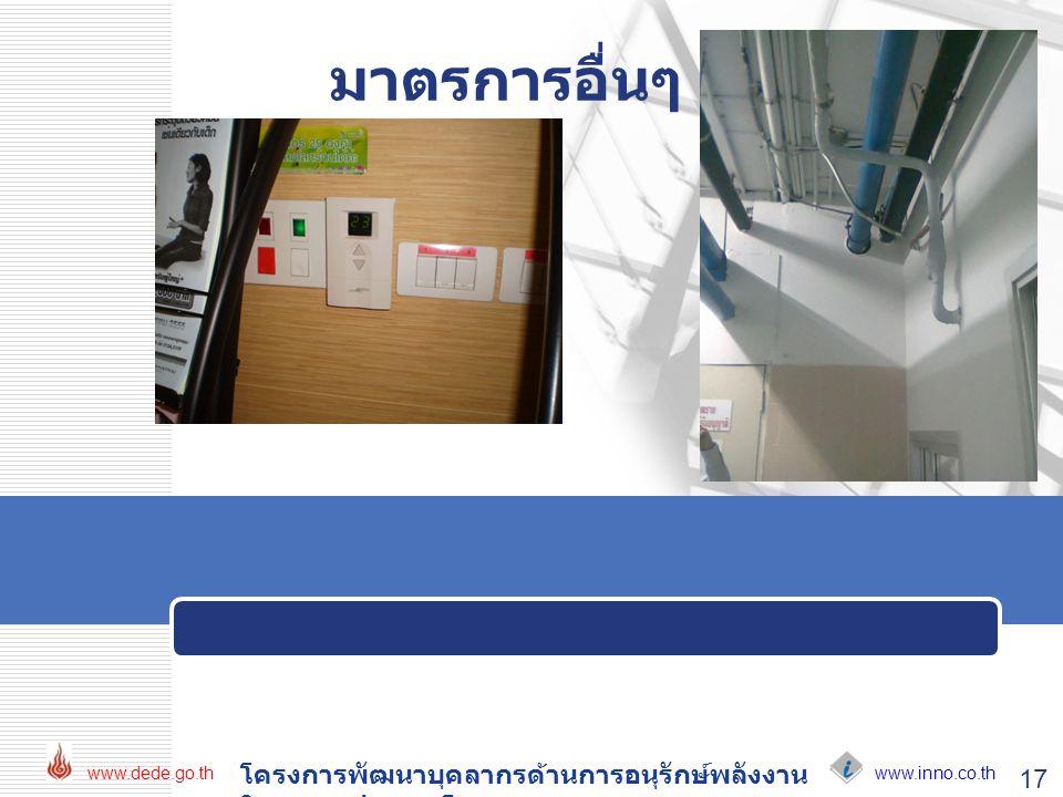 www.inno.co.th www.dede.go.th โครงการพัฒนาบุคลากรด้านการอนุรักษ์พลังงาน ในอาคารประเภทโรงพยาบาล 17 มาตรการอื่นๆ