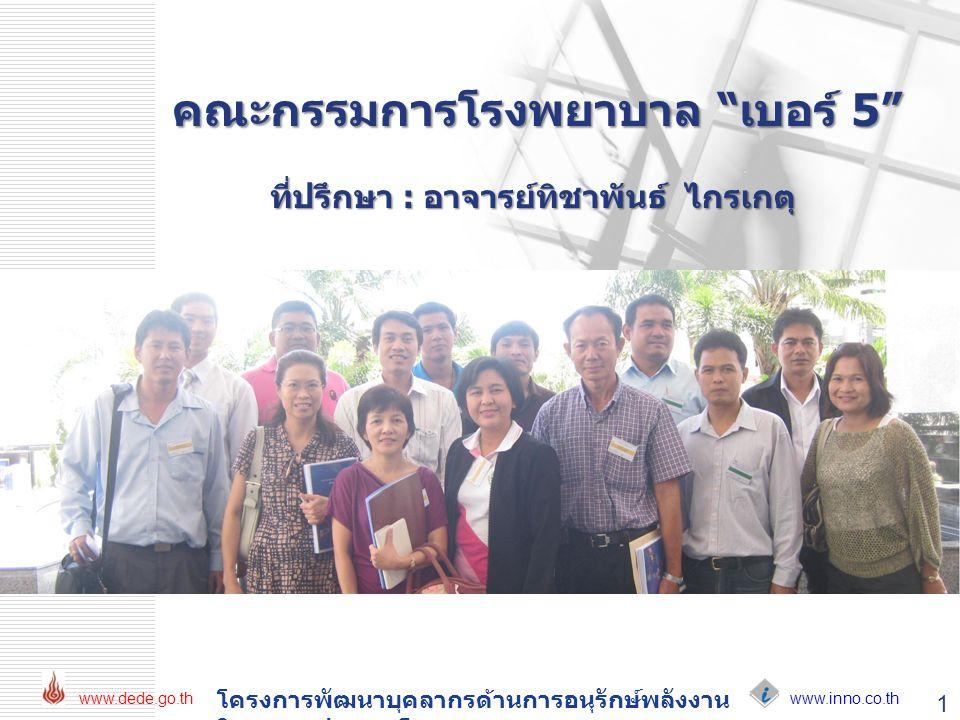 """www.inno.co.th www.dede.go.th โครงการพัฒนาบุคลากรด้านการอนุรักษ์พลังงาน ในอาคารประเภทโรงพยาบาล คณะกรรมการโรงพยาบาล """"เบอร์ 5"""" ที่ปรึกษา : อาจารย์ทิชาพั"""