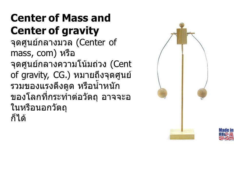 จุดศูนย์กลางมวล (Center of mass, com) หรือ จุดศูนย์กลางความโน้มถ่วง (Center of gravity, CG.) หมายถึงจุดศูนย์ รวมของแรงดึงดูด หรือน้ำหนัก ของโลกที่กระท