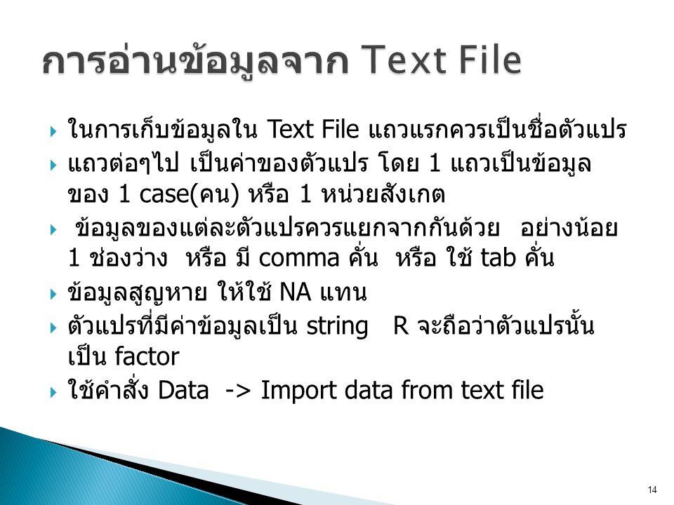  ในการเก็บข้อมูลใน Text File แถวแรกควรเป็นชื่อตัวแปร  แถวต่อๆไป เป็นค่าของตัวแปร โดย 1 แถวเป็นข้อมูล ของ 1 case(คน) หรือ 1 หน่วยสังเกต  ข้อมูลของแต