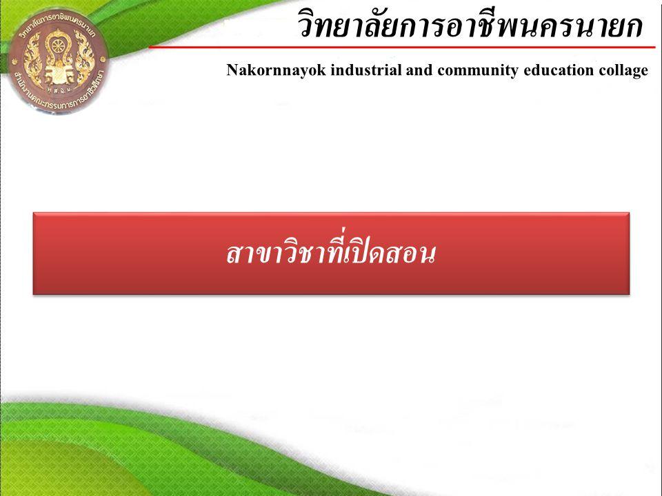 สาขาวิชาที่เปิดสอน วิทยาลัยการอาชีพนครนายก Nakornnayok industrial and community education collage