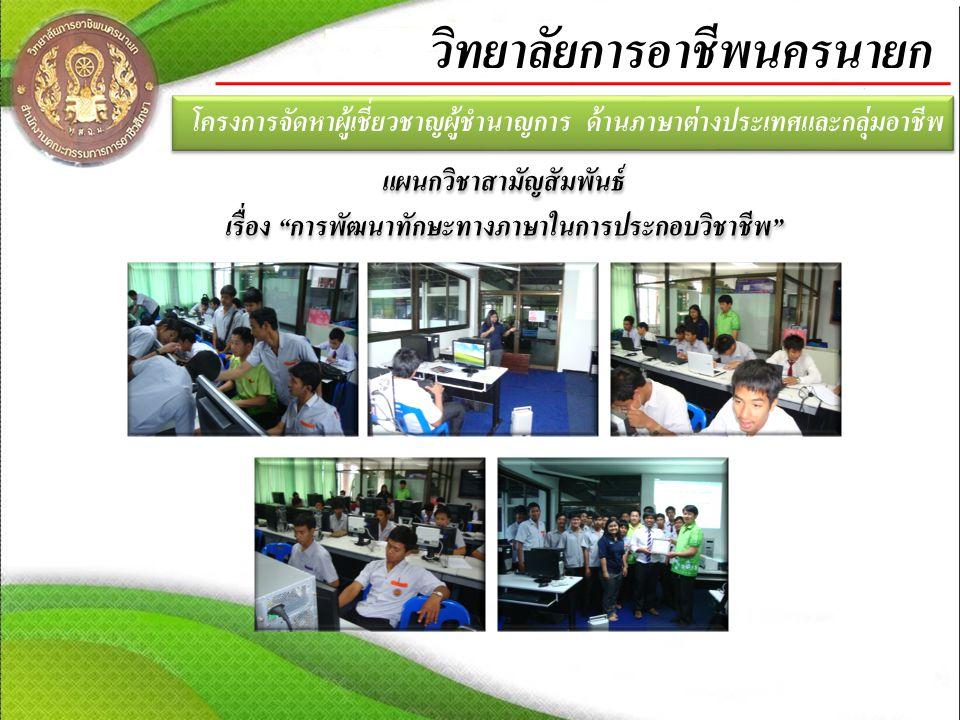 โครงการจัดหาผู้เชี่ยวชาญผู้ชำนาญการ ด้านภาษาต่างประเทศและกลุ่มอาชีพ วิทยาลัยการอาชีพนครนายก แผนกวิชาสามัญสัมพันธ์ เรื่อง การพัฒนาทักษะทางภาษาในการประกอบวิชาชีพ แผนกวิชาสามัญสัมพันธ์ เรื่อง การพัฒนาทักษะทางภาษาในการประกอบวิชาชีพ