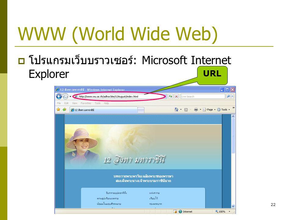22 WWW (World Wide Web)  โปรแกรมเว็บบราวเซอร์: Microsoft Internet Explorer URL