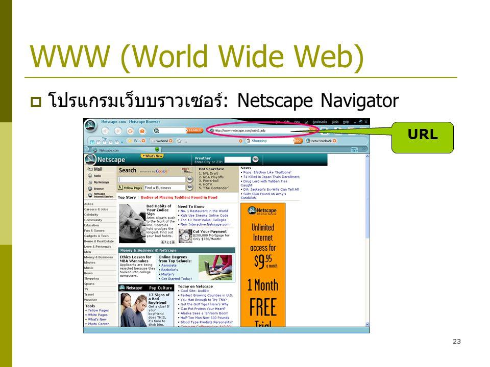 23 WWW (World Wide Web)  โปรแกรมเว็บบราวเซอร์: Netscape Navigator URL