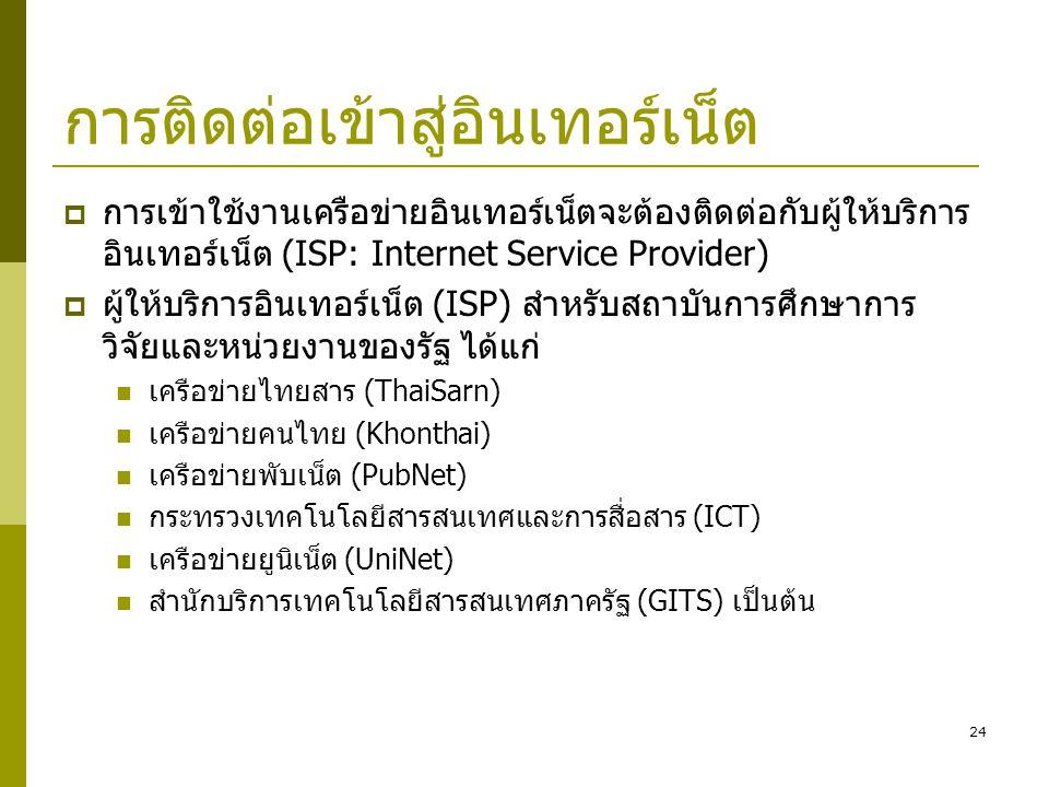 24 การติดต่อเข้าสู่อินเทอร์เน็ต  การเข้าใช้งานเครือข่ายอินเทอร์เน็ตจะต้องติดต่อกับผู้ให้บริการ อินเทอร์เน็ต (ISP: Internet Service Provider)  ผู้ให้