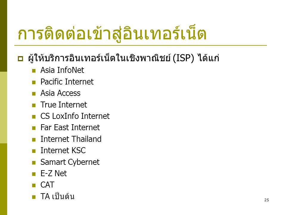 25 การติดต่อเข้าสู่อินเทอร์เน็ต  ผู้ให้บริการอินเทอร์เน็ตในเชิงพาณิชย์ (ISP) ได้แก่  Asia InfoNet  Pacific Internet  Asia Access  True Internet 