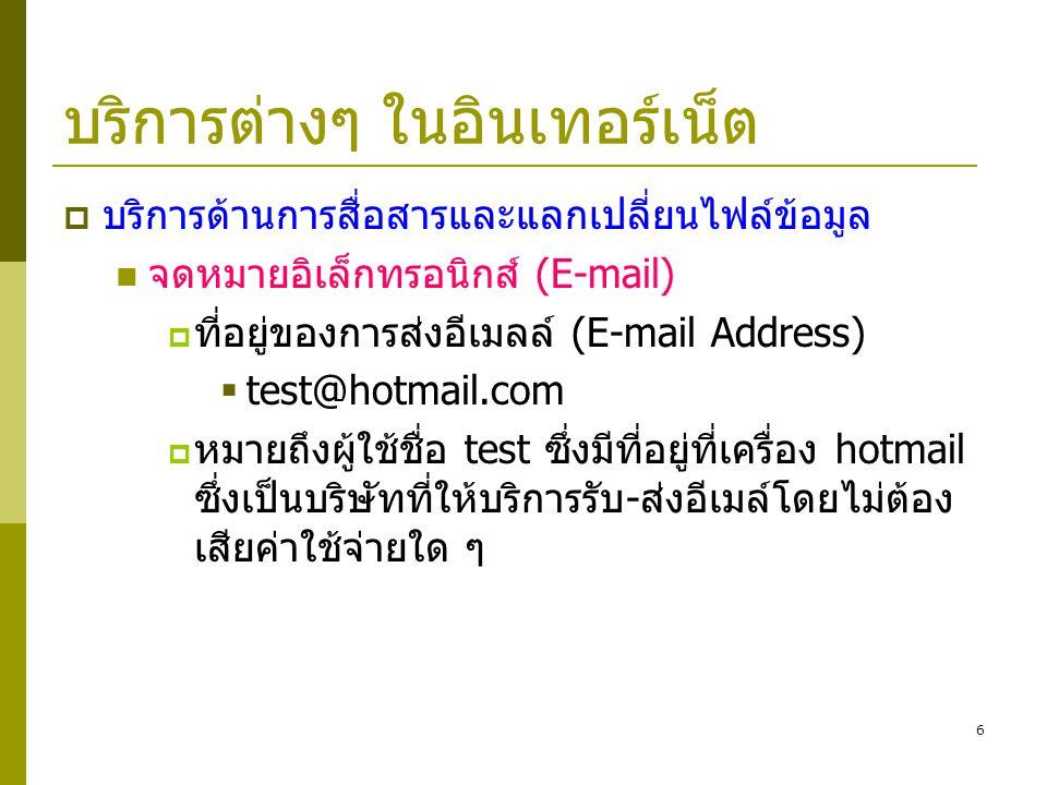 6 บริการต่างๆ ในอินเทอร์เน็ต  บริการด้านการสื่อสารและแลกเปลี่ยนไฟล์ข้อมูล  จดหมายอิเล็กทรอนิกส์ (E-mail)  ที่อยู่ของการส่งอีเมลล์ (E-mail Address)