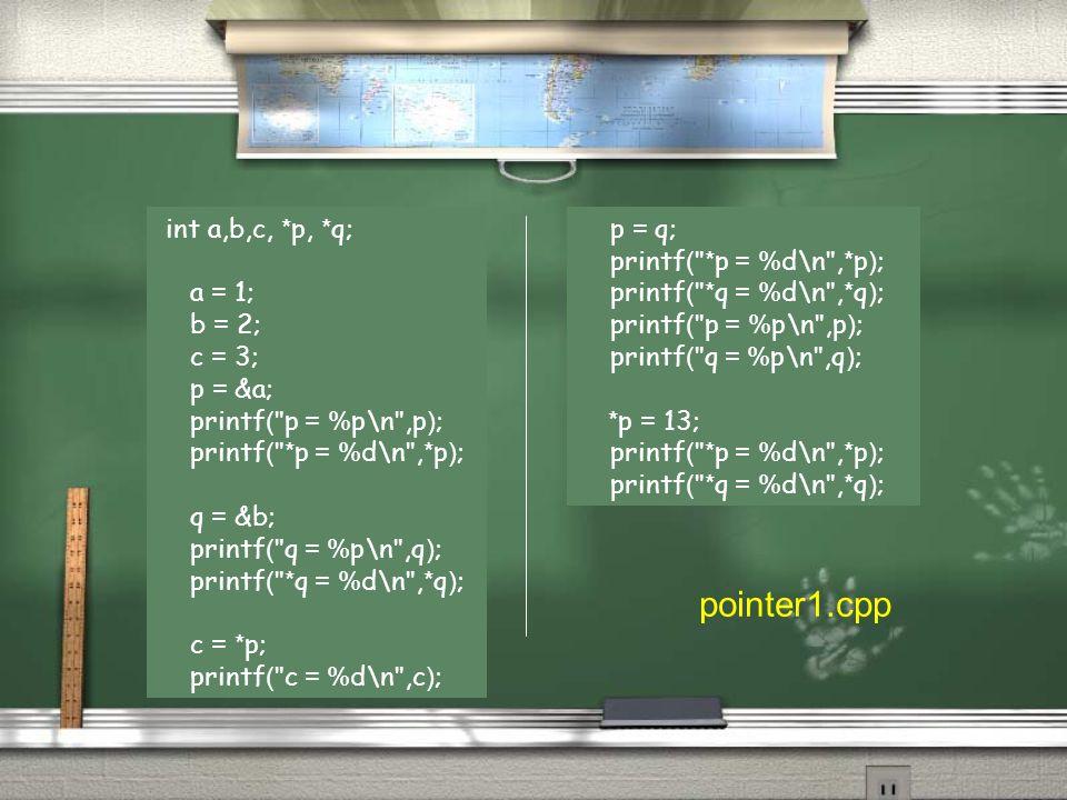 int a,b,c, *p, *q; a = 1; b = 2; c = 3; p = &a; printf( p = %p\n ,p); printf( *p = %d\n ,*p); q = &b; printf( q = %p\n ,q); printf( *q = %d\n ,*q); c = *p; printf( c = %d\n ,c); p = q; printf( *p = %d\n ,*p); printf( *q = %d\n ,*q); printf( p = %p\n ,p); printf( q = %p\n ,q); *p = 13; printf( *p = %d\n ,*p); printf( *q = %d\n ,*q); pointer1.cpp