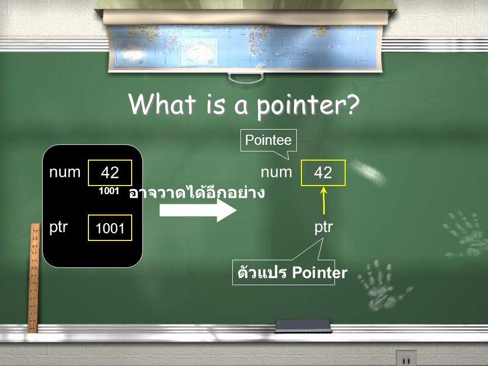 What is a pointer? 42 num ptr 1001 อาจวาดได้อีกอย่าง 42 num ptr ตัวแปร Pointer Pointee